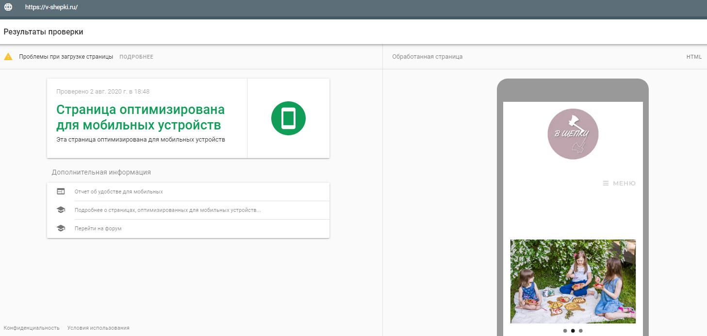 Результаты теста Google Mobile Friendly для сайта В Щепки